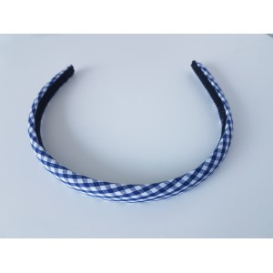 Gingham Hairband - Navy/White