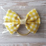Yellow/Lemon Gingham Ribbon Bobble Bow 3.5""