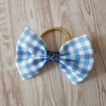 Light Blue Gingham Ribbon Bobble Bow 3.5""